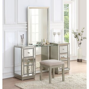 Claybrooks Storage Vanity Set with MirrorBedroom   Makeup Vanities   Joss   Main. Mirrored Makeup Vanity Set. Home Design Ideas