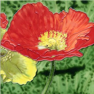 Red Poppy Tile Wall Decor