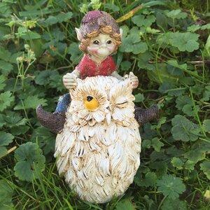 Pixie Riding Owl Racing Outdoor Garden Statue