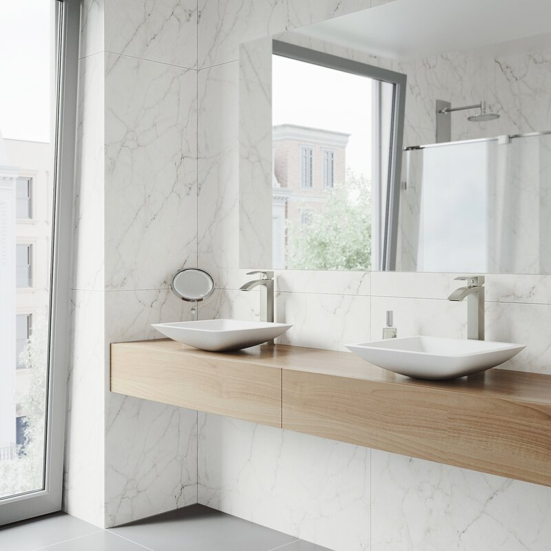 Vigo Matte Stone Square Vessel Bathroom Sink