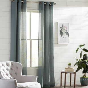 Strome Solid Semi Sheer Grommet Curtain Panels (Set Of 2)