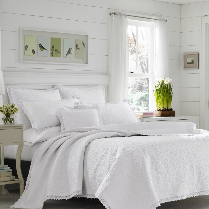 Laura Ashley Home Whitfield Drape Panels Reviews: Heirloom Crochet 100% Cotton Reversible Quilt Set By Laura