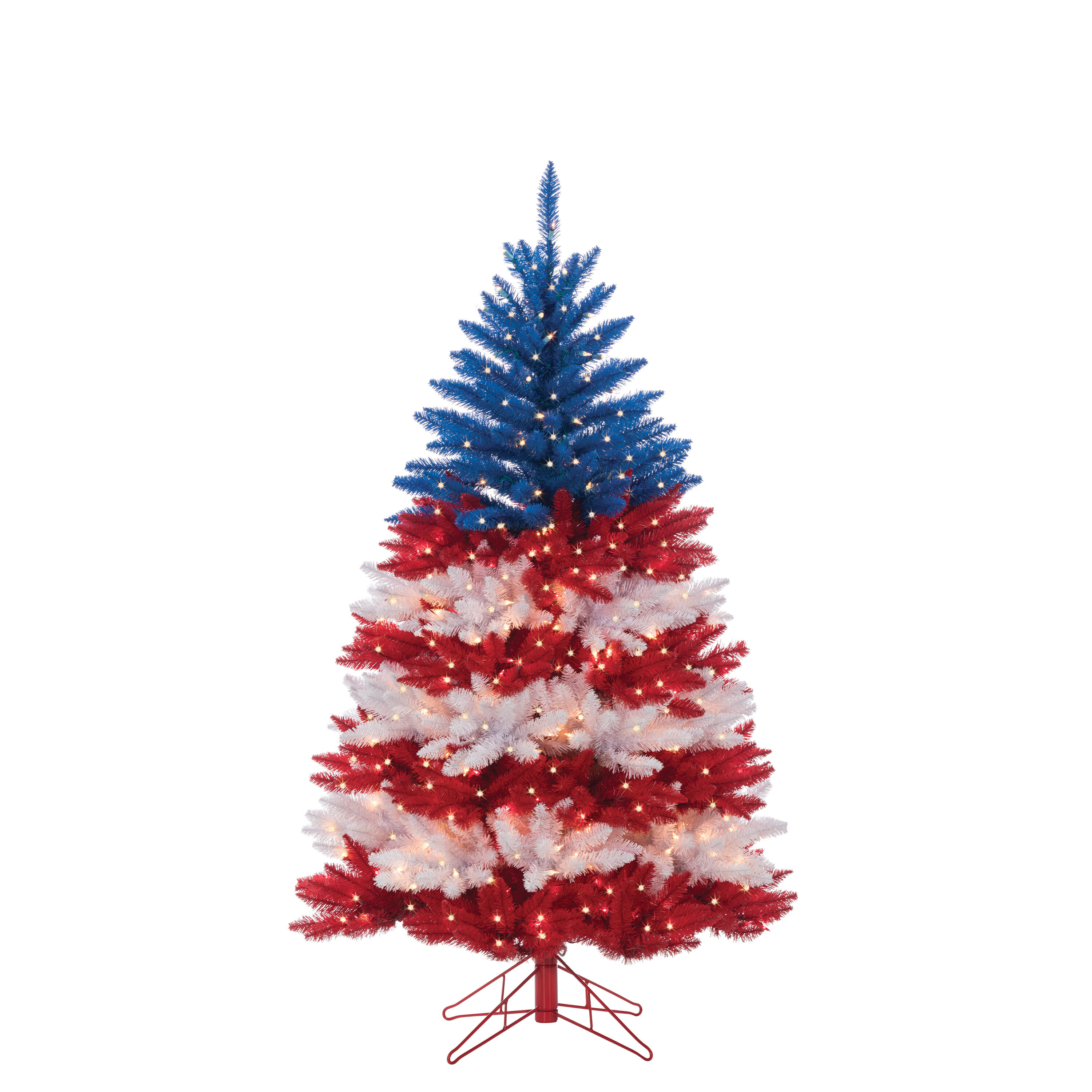 the holiday aisle patriotic american artificial redblue christmas tree with clear white lights with stand wayfair