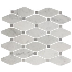 Octagon Offset Random Sized Carrara Marble Mosaic Tile In White Gray