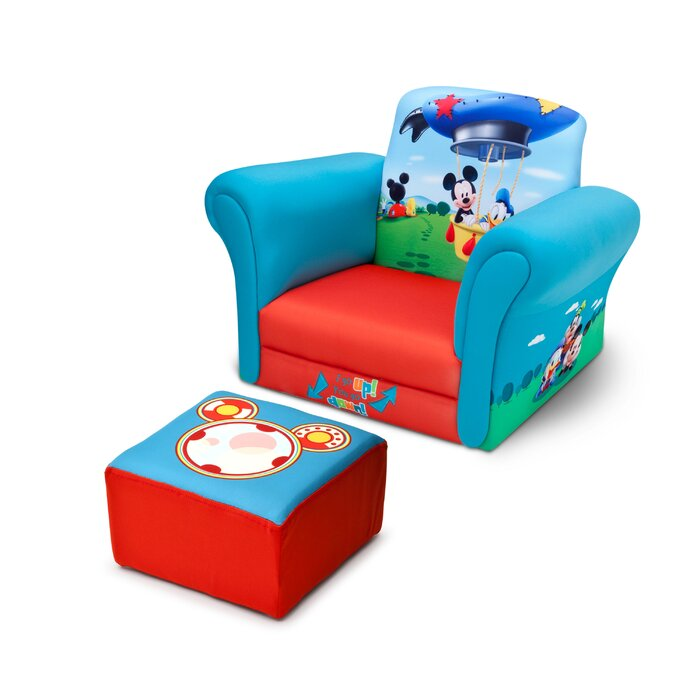 Delightful Mickey Mouse Upholstered Kids Club Chair And Ottoman
