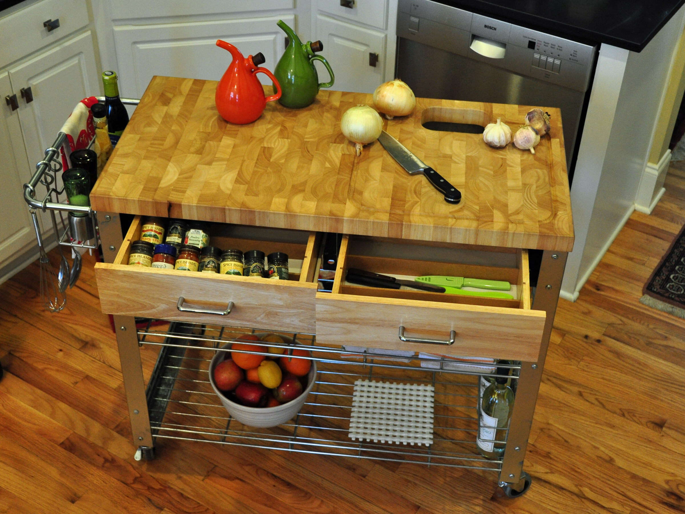 Loon Peak Thielsen Kitchen Cart with Wood Top & Reviews | Wayfair