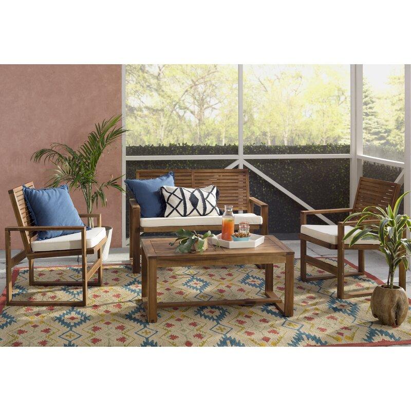 Black Diamond 4 Piece Sofa Set With Cushions