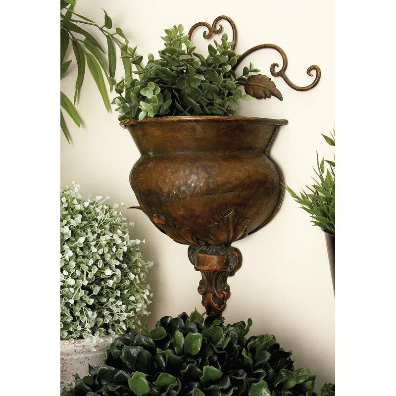 woodland imports metal wall planter reviews wayfair. Black Bedroom Furniture Sets. Home Design Ideas