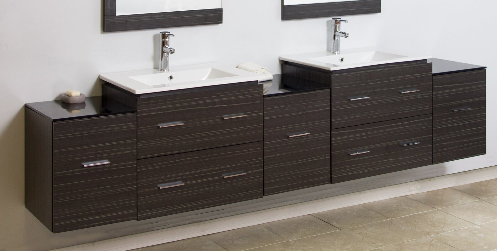 90  Double Modern Wall Mount Bathroom Vanity Set. American Imaginations 90  Double Modern Wall Mount Bathroom Vanity