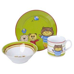 Edelson Traditional Porcelain Children\u0027s 3 Piece Dinnerware Set Service for 1  sc 1 st  Wayfair & Children\u0027s Dinnerware | Wayfair