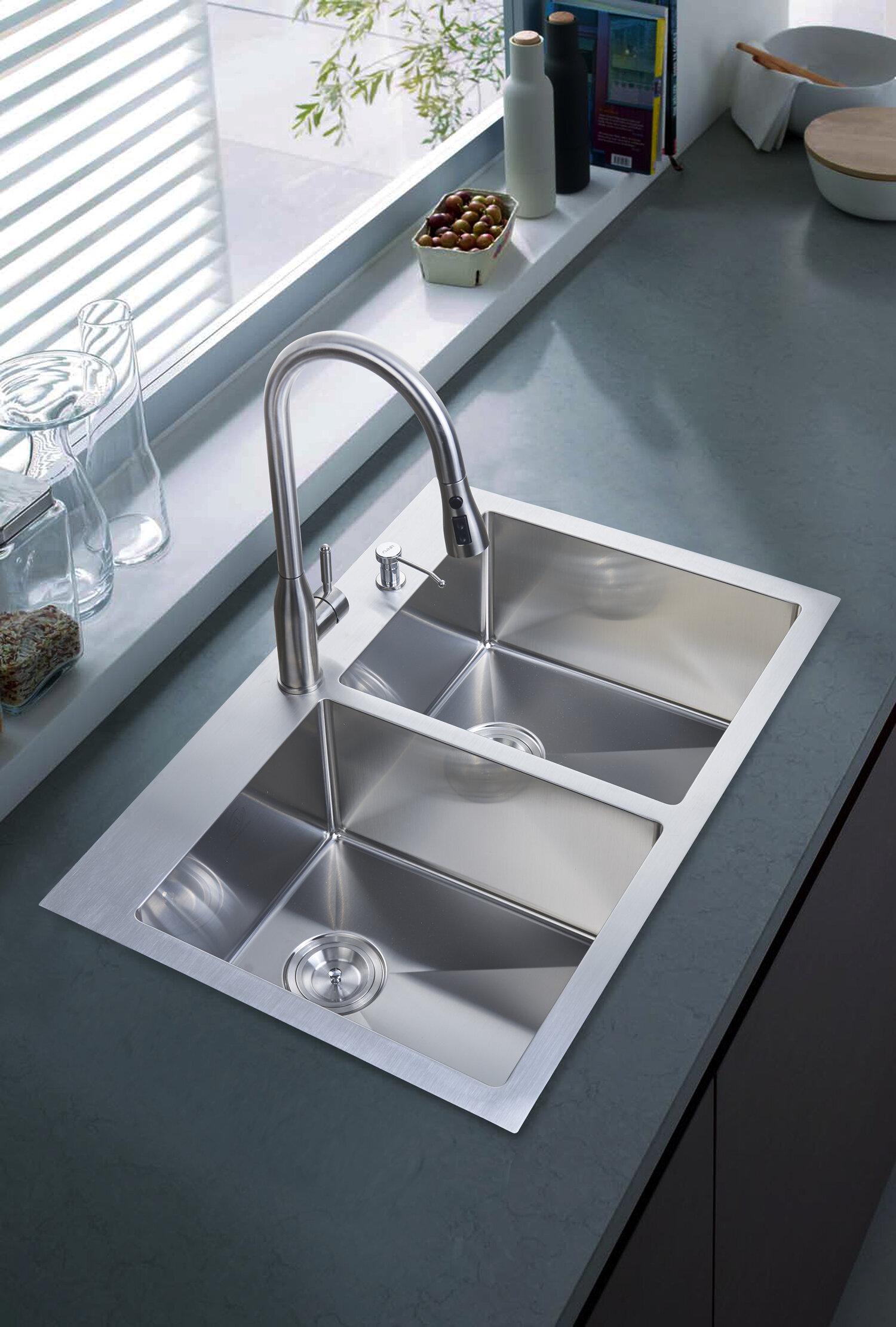 dcor design 33 x 22 overmount kitchen sink reviews wayfair rh wayfair com kitchen sinks overmount vs. undermount