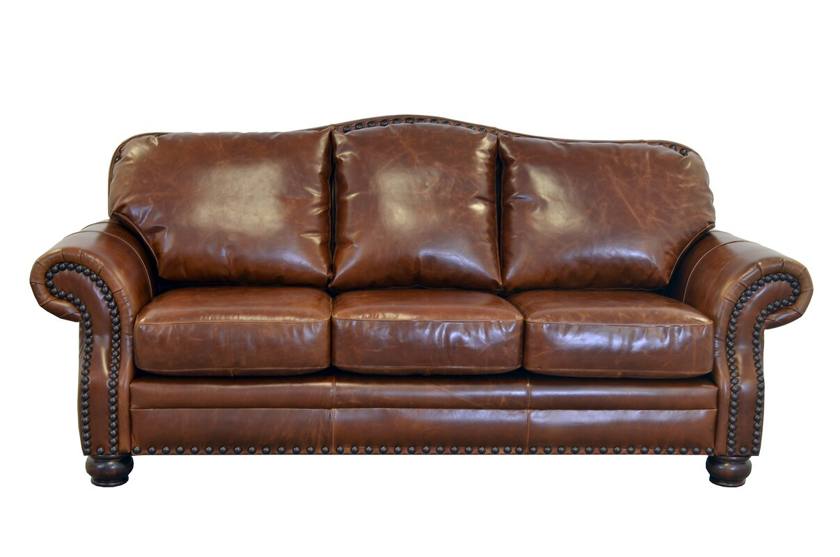 Westland and Birch Parker Genuine Top Grain Leather Sofa
