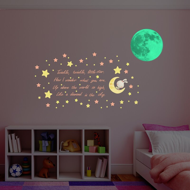 zoomie kids hillam glow in dark moon wall decal & reviews | wayfair.ca