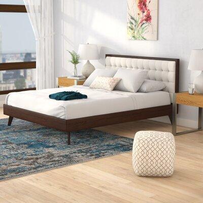 Abril Upholstered Platform Bed Corrigan Studio Color: Gray, Size: Queen