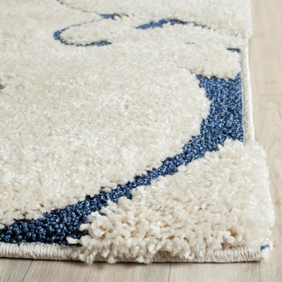 Three Posts Alison Cream Navy Blue Area Rug Amp Reviews