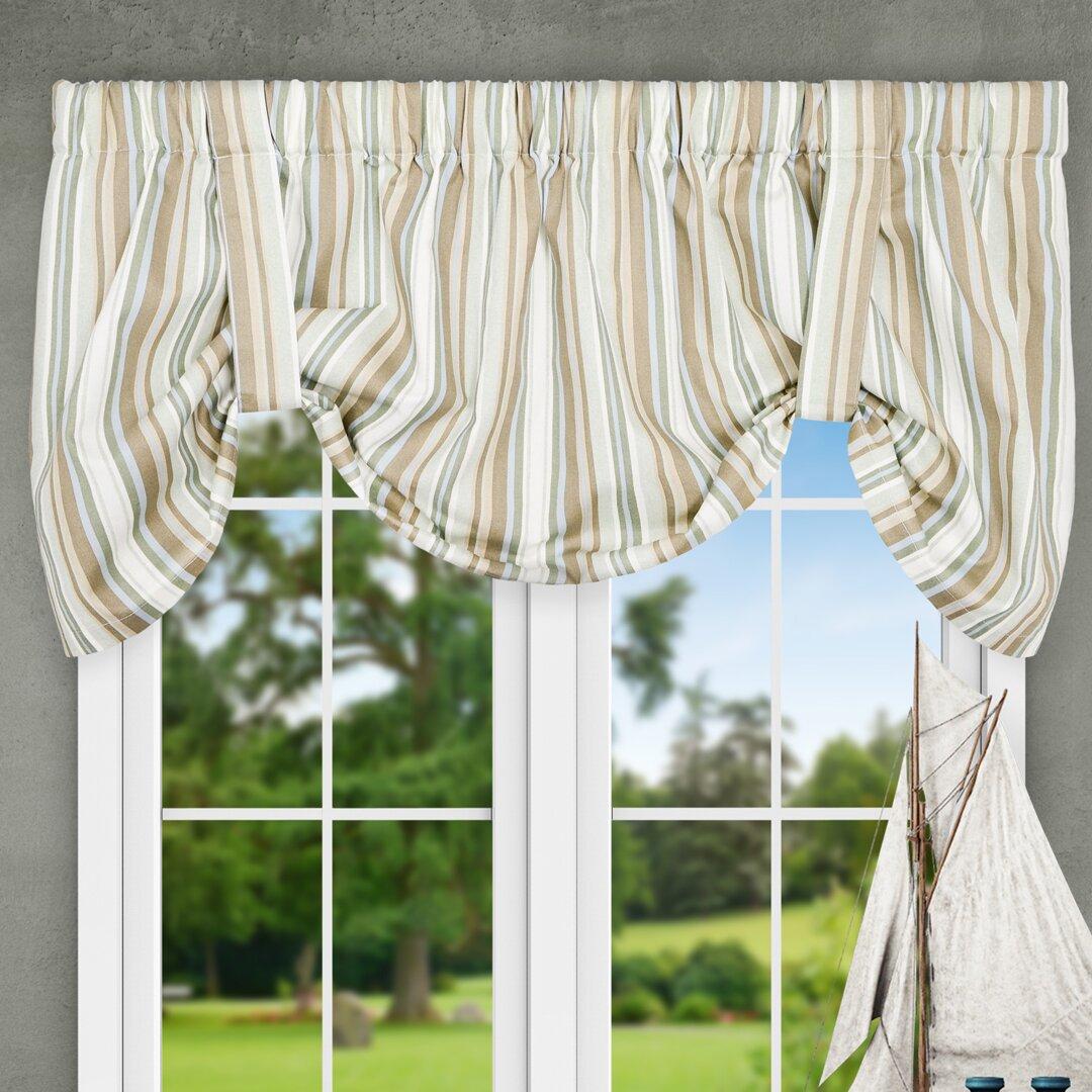 """Tie Up Kitchen Curtains: Ellis Curtain Jaden Stripe 60"""" Tie-Up Curtain Valance"""