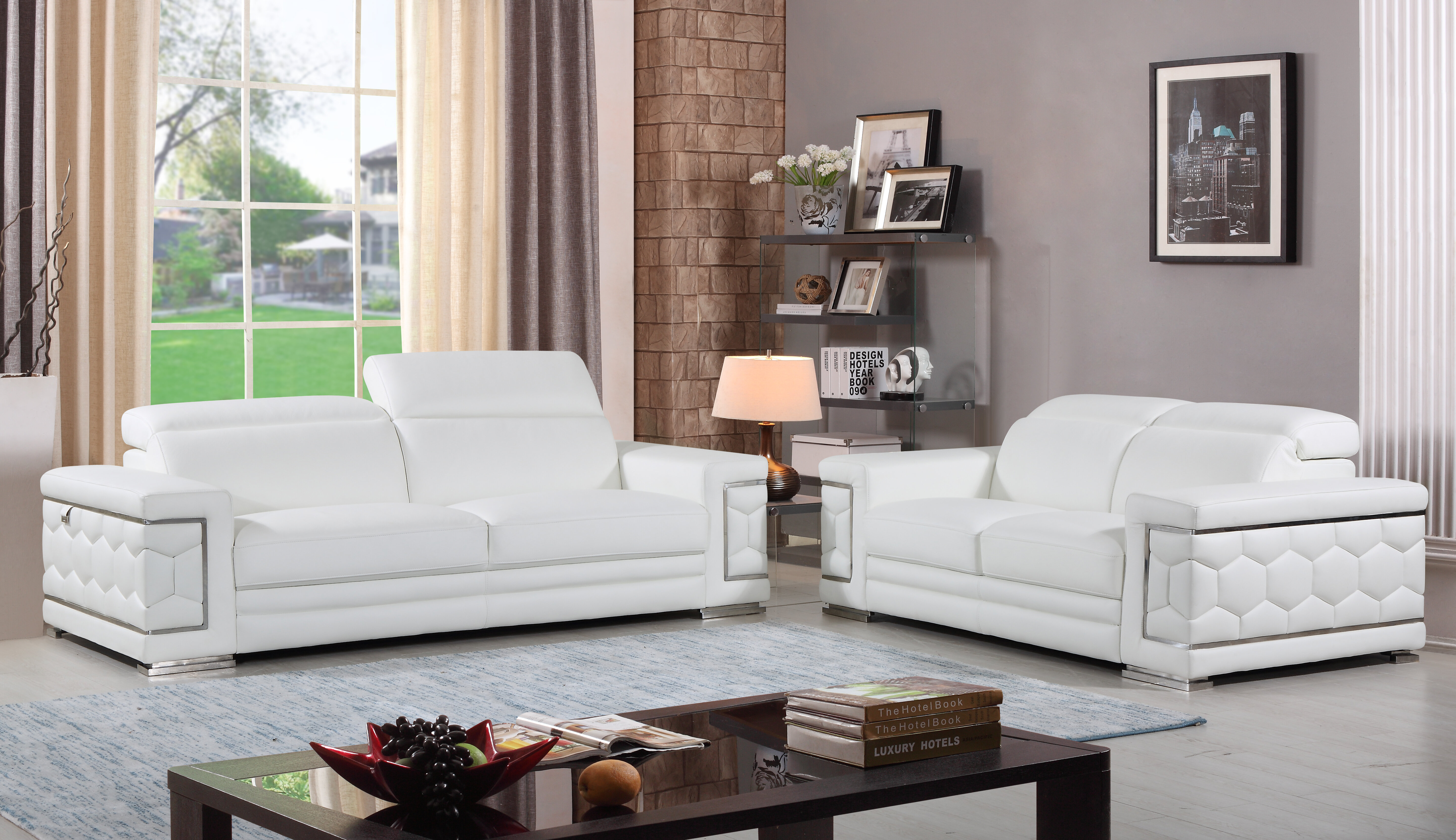 Admirable Nicolette Luxury Italian Leather 2 Piece Living Room Set Home Interior And Landscaping Mentranervesignezvosmurscom