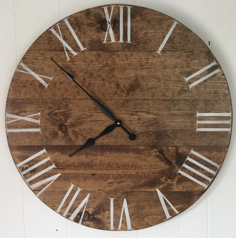 Oversized Ackermanville 30 Stained Wood Wall Clock