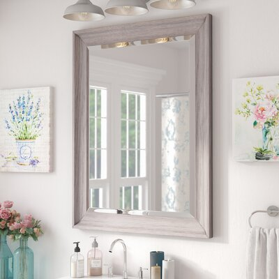 Bartouille Transitional Driftwood Beveled Bathroom Vanity Wall Mirror