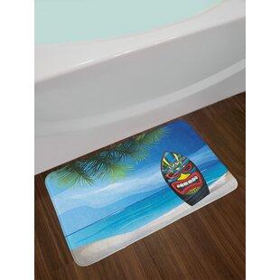 Surfboard bar wayfair tiki bar warrior mask design surfboard on ocean beach abstract landscape surf print non slip plush bath rug watchthetrailerfo