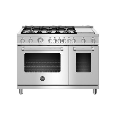 Master Series 48 Free-standing Gas Range with Griddle Bertazzoni Gas Range Color: Matte White, Gas Type: Natural Gas