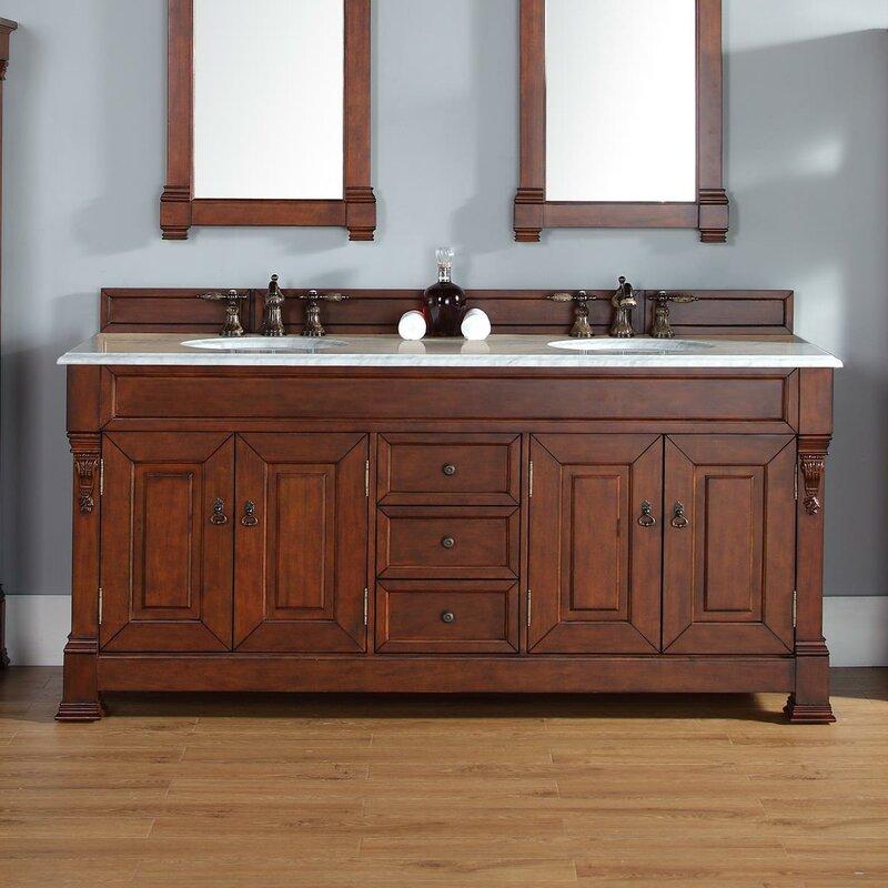 "Bedrock 72"" Double Warm Cherry Bathroom Vanity Set with Drawers"