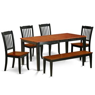 Kring 6 Piece Extendable Solid Wood Breakfast Nook Dining Set