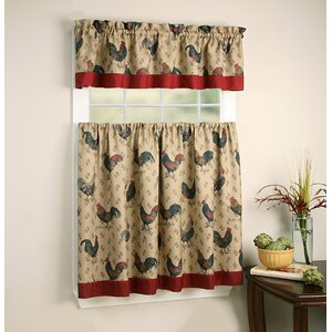 Groux Rooster Pullet Kitchen Curtain