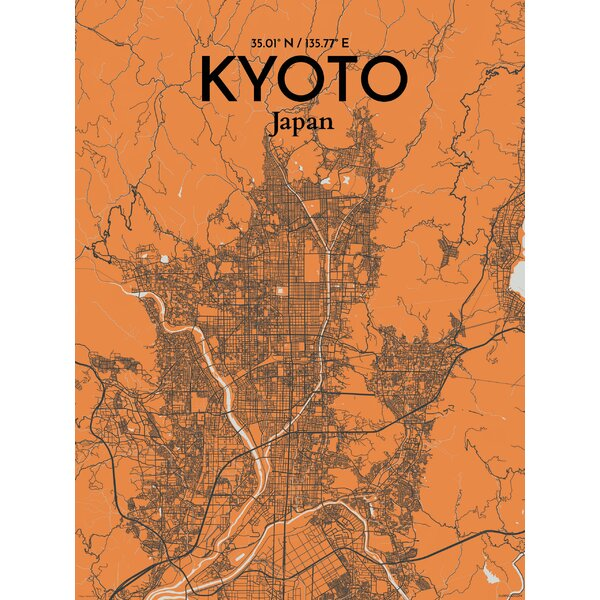 Ourposter kyoto city map graphic art print poster in grey ourposter kyoto city map graphic art print poster in greyorange wayfair gumiabroncs Images