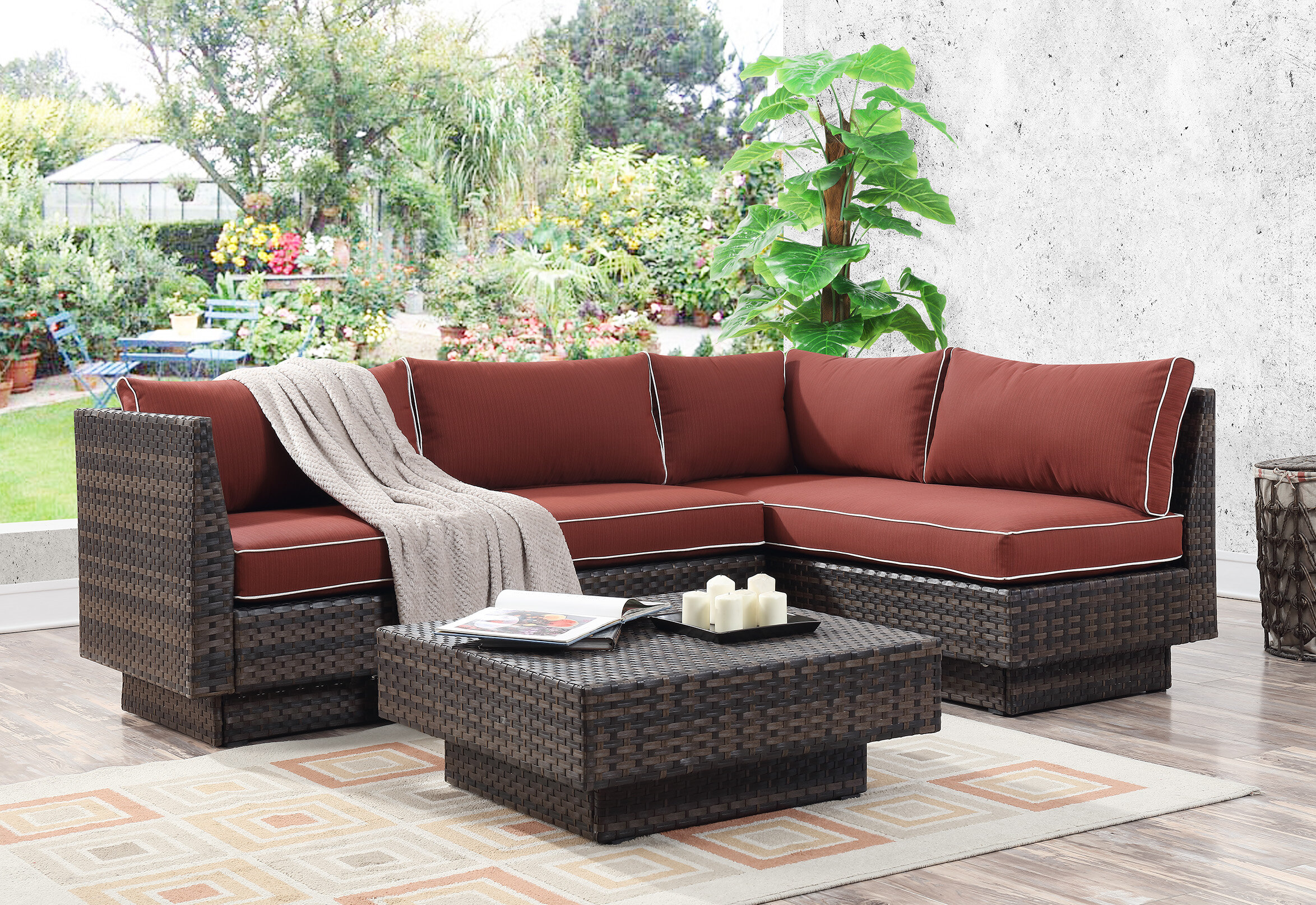 Mulford Outdoor 3 Piece Rattan Sectional Seating Group with Cushions