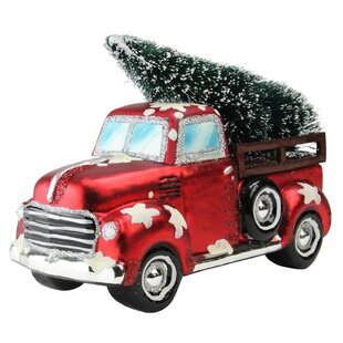 vintage truck christmas tabletop decoration sculpture