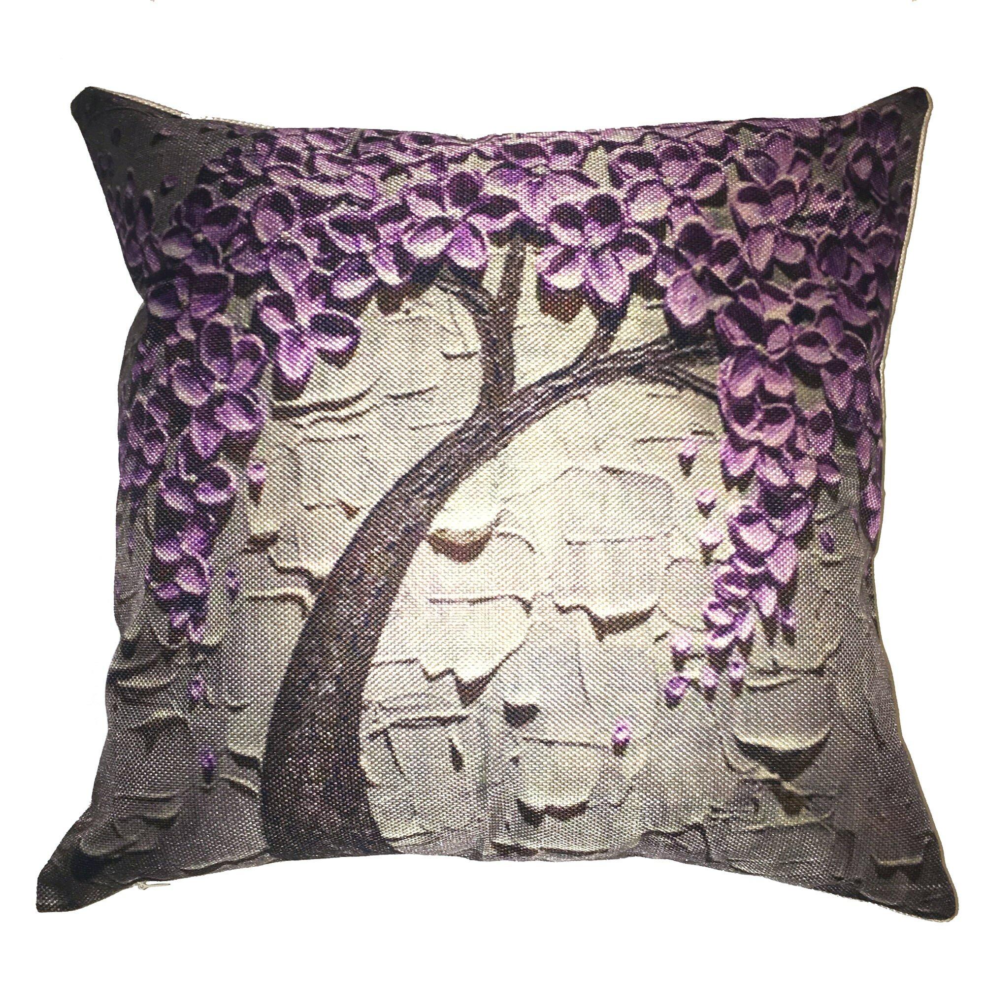Lillowz Purple Flower Tree Throw Pillow Amp Reviews Wayfair