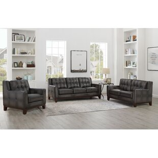 Oxford 3 Piece Leather Living Room Set