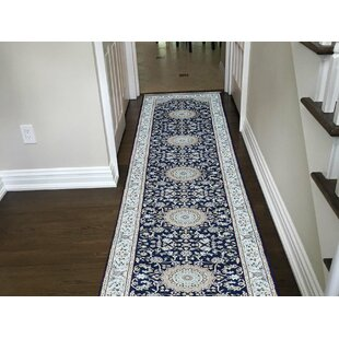 Bargain One-of-a-Kind Iva 300 KPSI Nain Hand-Knotted 2'7 x 12'1 Wool/Silk Blue/White Area Rug By Isabelline
