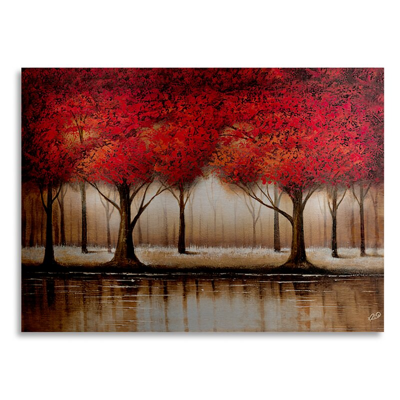 "Parade Of Red Trees Framed: Trademark Art ""Parade Of Red Trees"" By Rio Painting Print"