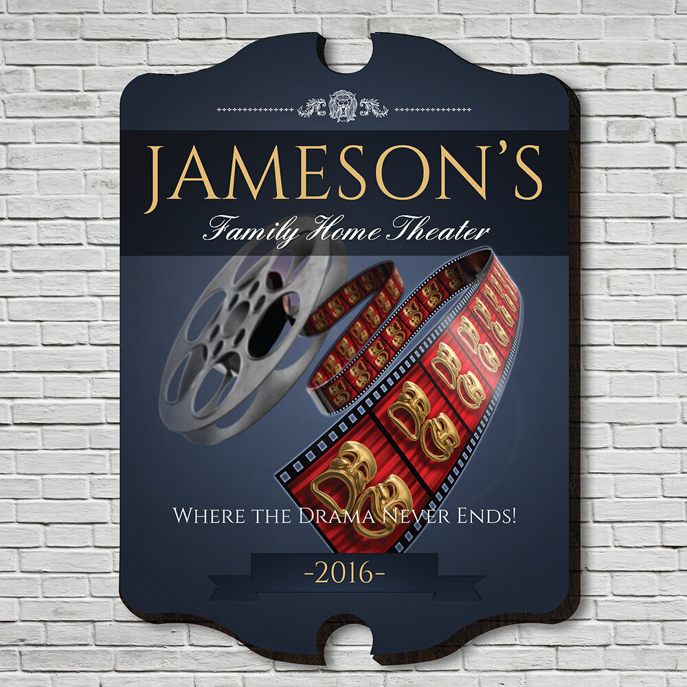 Home Wet Bar Family Movie Time Personalized Home Theater Sign Wall Décor U0026  Reviews | Wayfair
