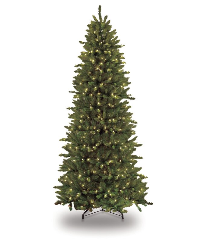 Pre Lit Slim Fraser 9 Green Fir Artificial Christmas Tree With 800 Clear Lights