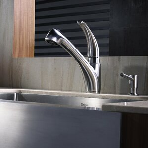 Kraus Stainless Steel Pull Out Kitchen Faucet with Soap Dispenser   Bathroom Sink
