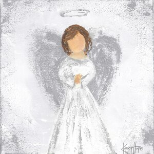 Praying Angel Painting Print on Canvas in Silver