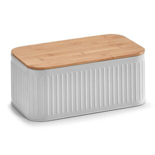 White Embossed Bread Bin Bamboo Effect Lid Bread Loaf Storage Crock Bin Tin Cookware, Dining & Bar