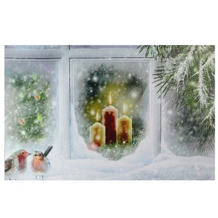 holiday window candles traditional electric window snowy window pane and candles christmas led lighted print on canvas led christmas wayfair