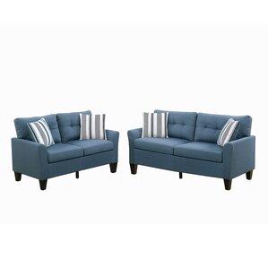 Wolfram 2 Piece Living Room Set. Beige Blue Charcoal