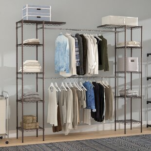 clothes fabric storage woven wardrobe portable organizer songmics non reviews best double closet com shelf rod