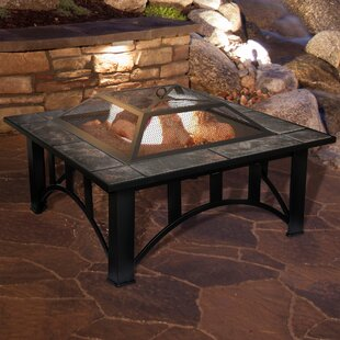 Steel Wood Burning Fire Pit Table. By Pure Garden