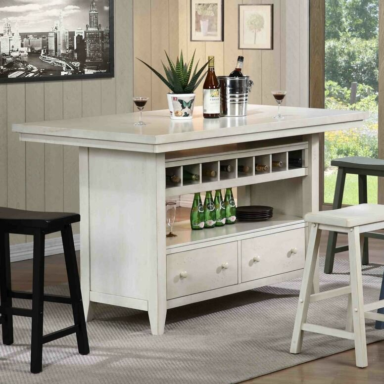 August Grove Carrolltown Wood Kitchen Island Reviews Wayfair