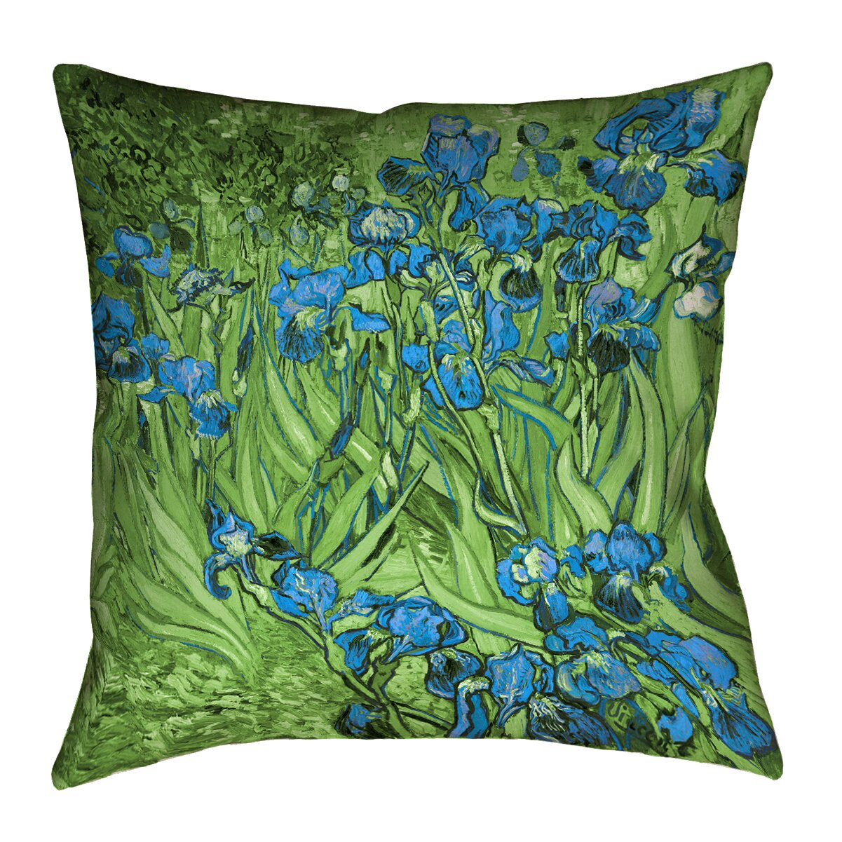 ArtVerse Vincent Van Gogh Irises in Green and Blue Outdoor Throw Pillow Wayfair.ca