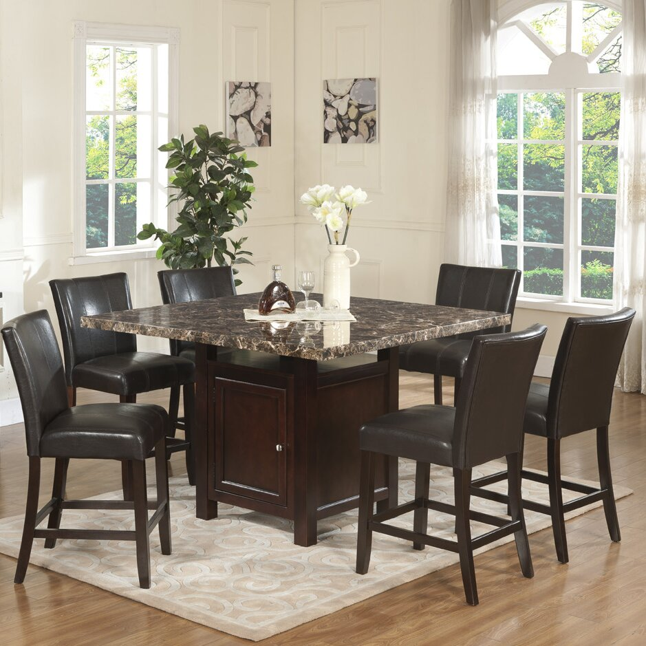 Living In Style Ashley 7 Piece Counter Height Dining Set & Reviews ...