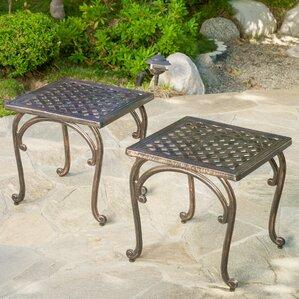 Glenn Cast Aluminum Outdoor Side Table (Set Of 2)