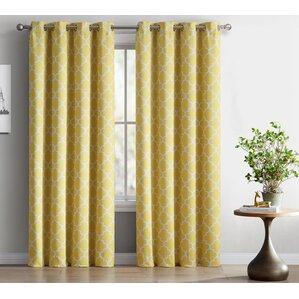 Elegant Lattice Geometric Blackout Thermal Grommet Curtain Panels (Set Of 2)  Mustard Yellow Curtains
