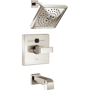 angular modern tub and shower faucet trim